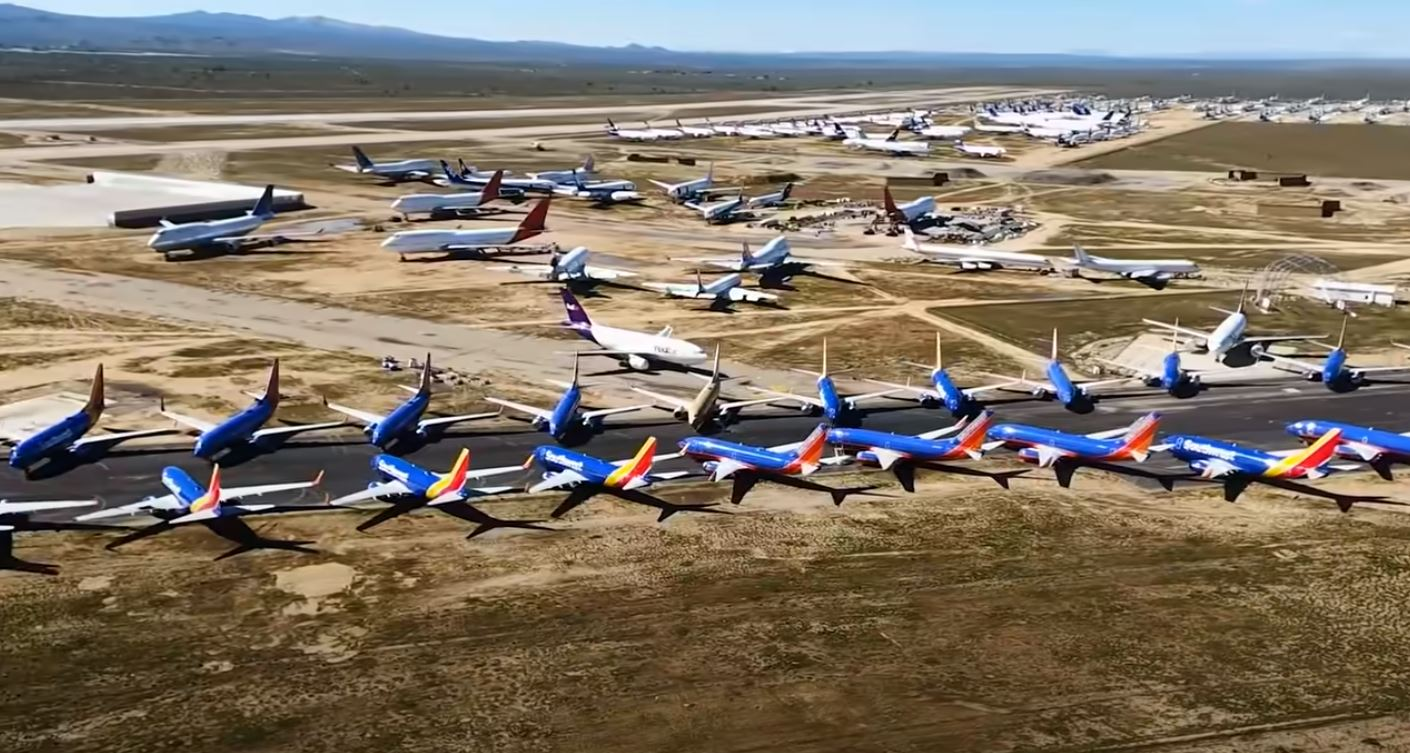 400 planes parked side by side