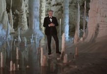 Andrea Bocelli singing Silent Night in a cave
