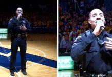 Police Officer Carlton Smith American Idol Sings National Anthem at Basketball Game