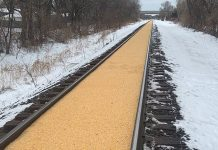 Corn spill Crystal Minnesota train tracks