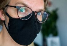 Preventing foggy lenses when wearing a mask