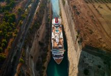 MS Braemar cruise ship passing through Corinth Canal in Greece