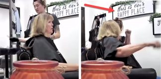 Hairdresser stylist Karen white woman tries to punch